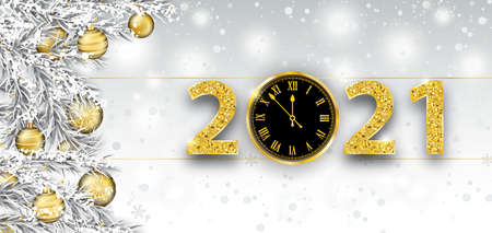 Christmas banner with a clock and numbers 2021