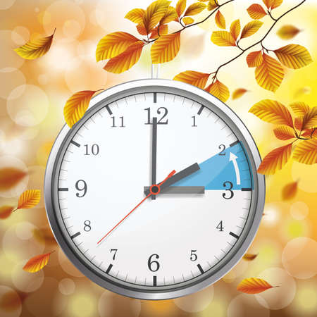 Hanging clock under a tree in autumn, with a note on the changeover to standard winter time. 矢量图像