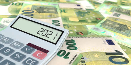 100 Euro banknotes with calculator with the date 2021 on the display. 3d illustration.