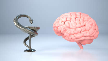 An Asclepius statue next to a human brain on a light background. 3d illustration.