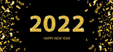 Golden confetti with the text 2022, happy new year, on the black background.Eps 10 vector file.