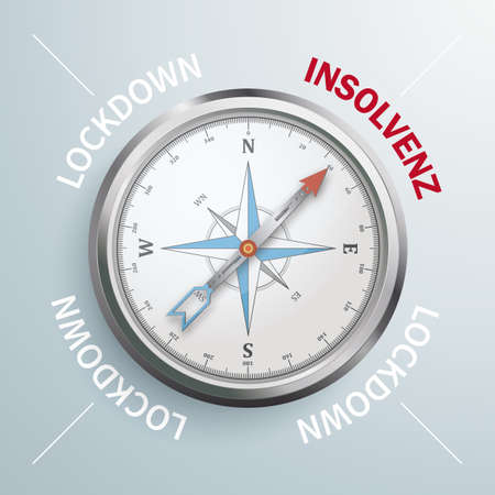 German text Insolvenz, translate Insolvency. Eps 10 vector file. Vettoriali