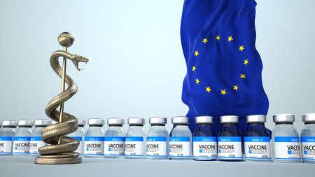 Vaccine procurement in the EU. 3d illustration.