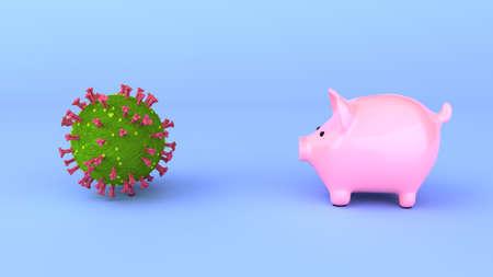 Coronavirus pandemic costs savings. 3d illustration. Archivio Fotografico