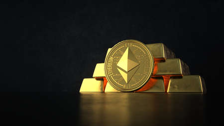 The fine gold bars with the Ethereum coin on the dark background. 3d illustration.