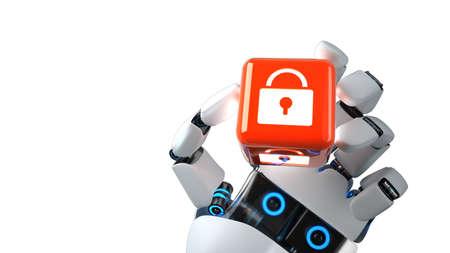 The AI takes care of the security. 3d illustration. Archivio Fotografico