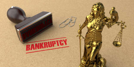 Stamp bankruptcy on the brown cardboard. 3d illustration.