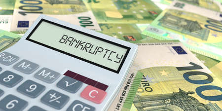 A calculator with the text Bankruptcy on the display. 3d illustration. Archivio Fotografico