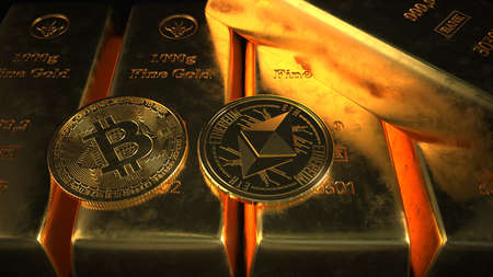 The fine gold bars with the Bitcoin and Ethereum coins on the dark background. 3d illustration.