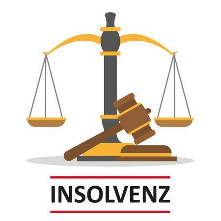German text Insolvenz, translate Insolvency. Vettoriali