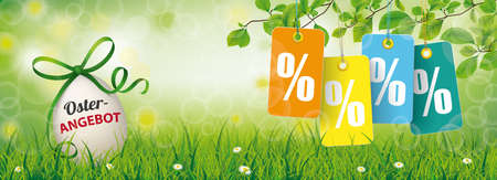 Easter sale banner with nature and colored price stickers with percents.