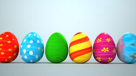 Colored easter eggs on the bright background. 3d illustration.