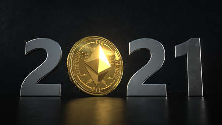 Ethereum in the year 2021. 3d illustration.