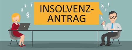 German text Insolvenzantrag, translate Insolvency Application. Eps 10 vector file.