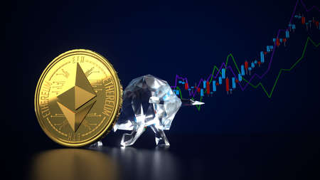 Golden Ethereum with the bull and candlestick chart on a dark background. 3d illustration. Archivio Fotografico