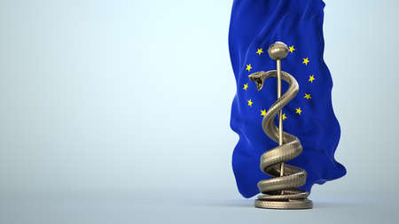 Legal requirements in medicine in the EU. 3d illustration.