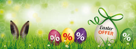 Easter offer banner, with easter eggs and hare ears in the grass. Eps 10 vector file.
