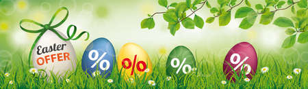 Easter offer banner with colored easter eggs in the green nature. Eps 10 vector file.