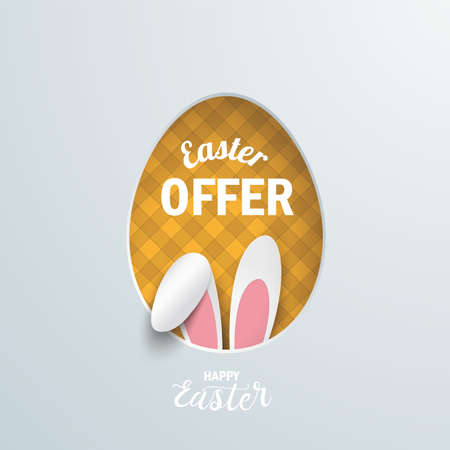 Easter offer cover with hare ears. Eps 10 vector file.