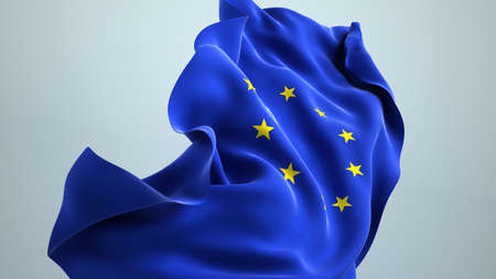 The EU flag wafting in the wind. 3d illustration.