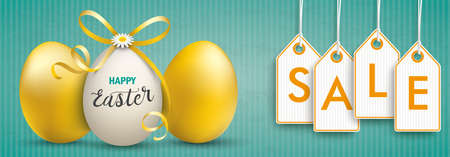 Green vintage banner with easter eggs and price stickers with the text Sale. Eps 10 vector file. Vettoriali