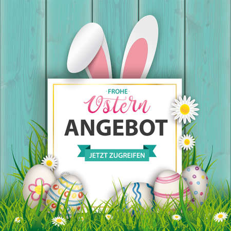German text Frohe Ostern Angebot, translate Happy Easter Offers. Eps 10 vector file.