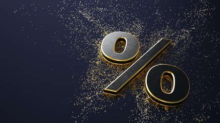 A percent with a golden particles. 3d illustration. Archivio Fotografico