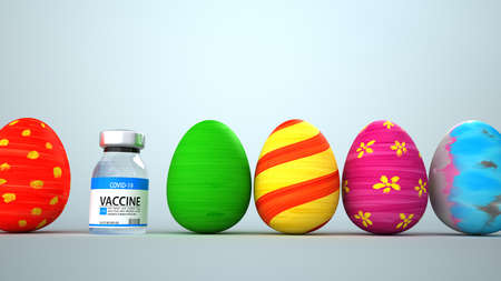 This Easter is marked by the coronavirus pandemic. 3d illustration.