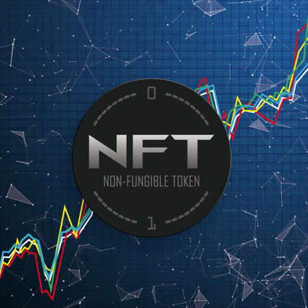Abstract background with the text NFT, chart, connected dots and data.