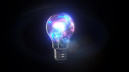 Bright light bulb in colorful colors. 3d illustration. Archivio Fotografico