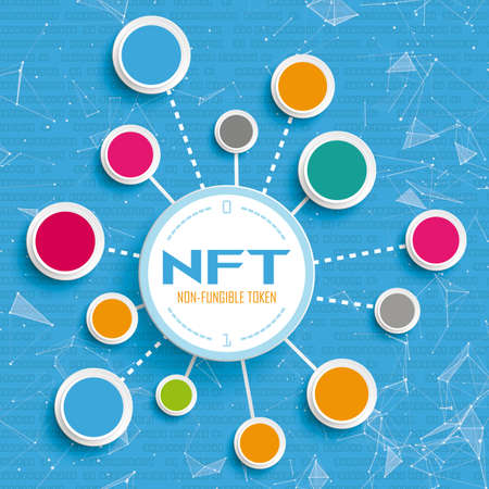 Infographic about NFt with connected circles and data.