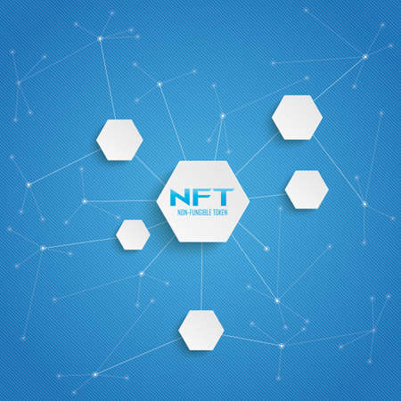 NFT network background with hexagons.
