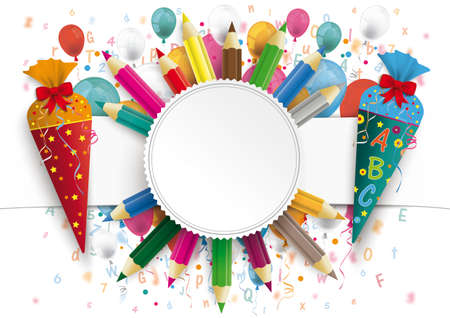 White paper banner, emblem, letters, numbers, colored pencils and colored balloons.  Eps 10 vector file. Vettoriali