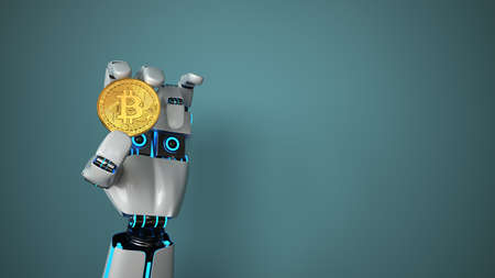 Robot holds an Bitcoin in his hand. 3d illustration.