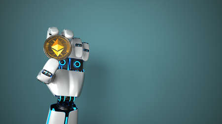 Robot holds an Ethereum in his hand. 3d illustration.