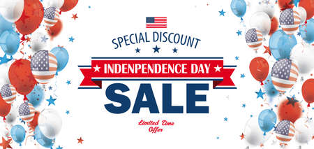 Independence Day Sale banner with balloons and stars. Eps 10 vector file.
