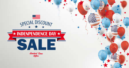 Independence day sale header with balloons and stars on the gray background. Eps 10 vector file.
