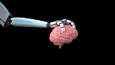 Humanoid robot hand with human brain isolated on the black background. 3d illustration.