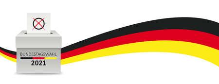 German Text Bundestagswahl 2021, translate parliamentary elections for the Bundestag 2021. Vektorgrafik