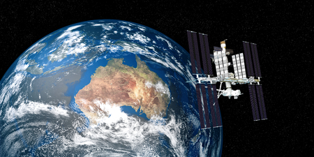 Extremely detailed and realistic high resolution 3D illustration of International Space Station ISS above Australia. Shot from Space. Elements of this image are furnished by Nasa.