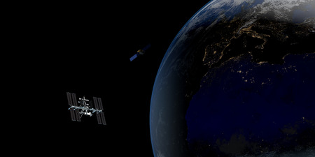 Extremely detailed and realistic high resolution 3D illustration of International Space Station ISS orbiting Earth. Shot from Space.