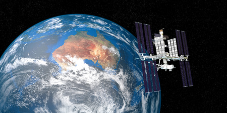 Extremely detailed and realistic high resolution 3D illustration of International Space Station ISS orbiting Earth. Shot from Space. Elements of this image are furnished by Nasa. Stock Photo