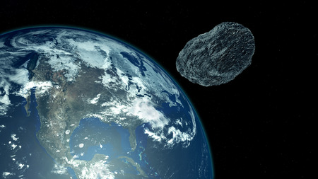 Extremely detailed and realistic high resolution 3D illustration of an asteroid approaching the USA. Shot from Space.
