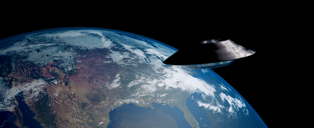 Extremely detailed and realistic 3D illustration of a flying UFO. Shot from Space. Elements of this image are furnished by Nasa.