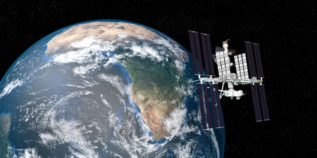 Extremely detailed and realistic high resolution 3D illustration of the International Space Station ISS orbiting Earth.