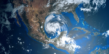 detailed image: Extremely detailed and realistic high resolution 3D illustration of a Hurricane approaching Texas. Shot from Space. Elements of this image are furnished by Nasa.