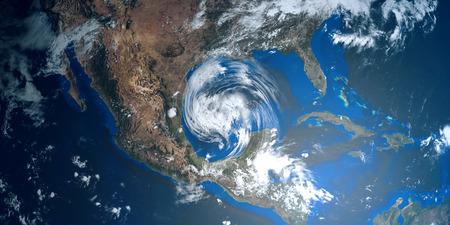 Zeer gedetailleerde en realistische 3D-afbeelding met hoge resolutie van een orkaan die Texas nadert. Shot from Space. Elementen van deze afbeelding zijn ingericht door Nasa.