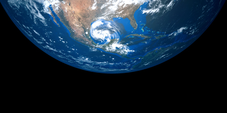 텍사스에 접근하는 허리케인의 매우 상세 하 고 현실적인 고해상도 3D 그림. 우주에서 쐈어. 이 이미지의 요소는 NASA에 의해 제공됩니다. 스톡 콘텐츠