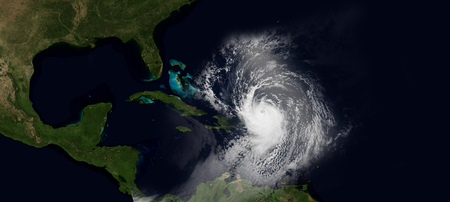 Extremely detailed and realistic very high resolution illustration of hurricane irma slamming into the Caribbean Islands. Shot from Space. Elements of this image are furnished by Nasa.
