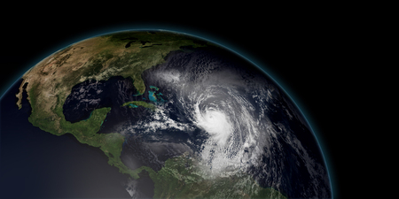 Extremely detailed and realistic high resolution 3d illustration of hurricane irma approaching the Caribbean Islands. Shot from space. Stock Photo